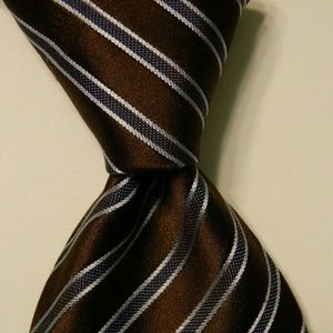ERMENEGILDO ZEGNA Silk XL Necktie STRIPED Brown